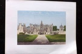 Morris Seats 1860's Antique Print. Harlaxton Manor
